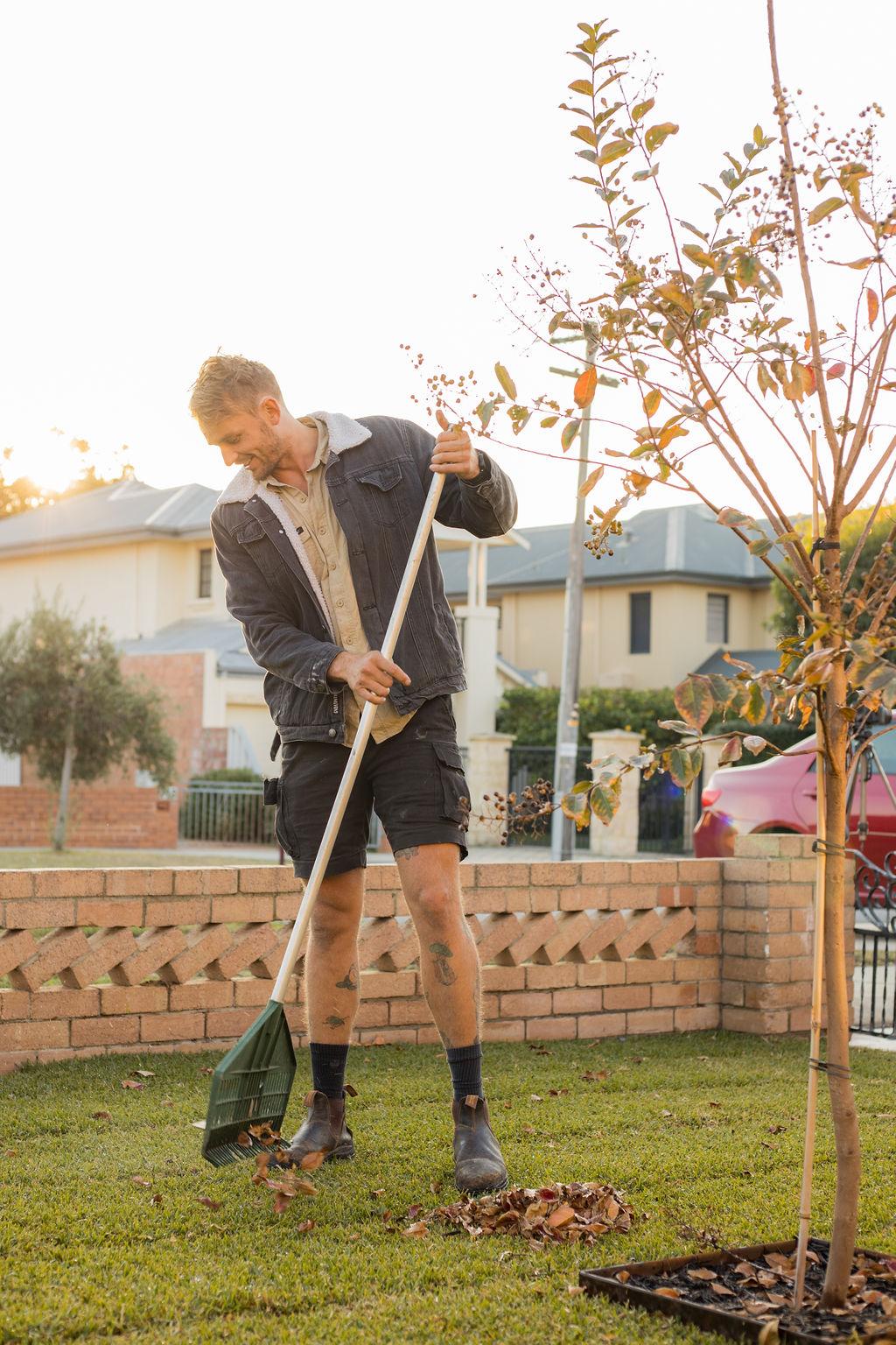 A man raking leaves